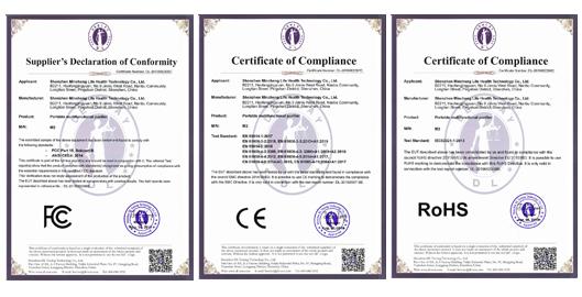 电子空气净化消毒器M2顺利通过FCC、CE、Rohs检测认证